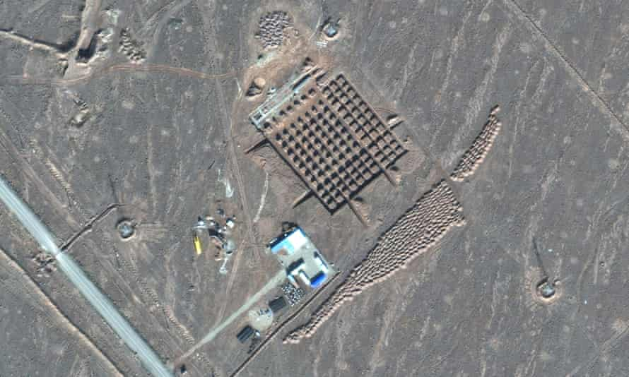 A satellite photo by Maxar Technologies shows construction at Iran's Fordo nuclear facility