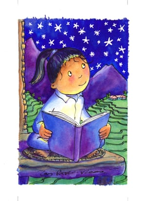 Colourful illustration of girl reading under the stars