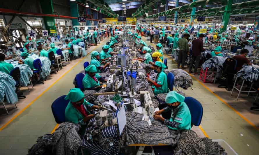 Garment workers at a factory in Bangladesh