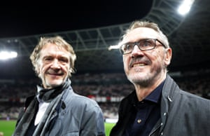 Bob Ratcliffe (right) and his brother Jim (left) at the Nice v PSG game last October.