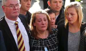 The family of Lee Rigby: (L-R) stepfather Ian Rigby, mother Lyn Rigby, and sister Sara McClure, attend his funeral in 2013.