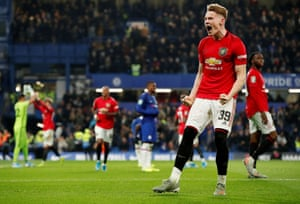 Manchester United's Scott McTominay celebrates after the final whistle goes.