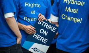Employees of Ryanair demonstrate for better working conditions at Frankfurt airport in Germany.