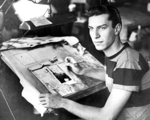 Landau at work in the Daily News Art Dept in 1951. He left five years later to become an actor
