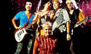 The Go-Go's, left to right: Jane Wiedlin, Kathy Valentine, Belinda Carlisle, Gina Schlock, Charlotte Caffey.