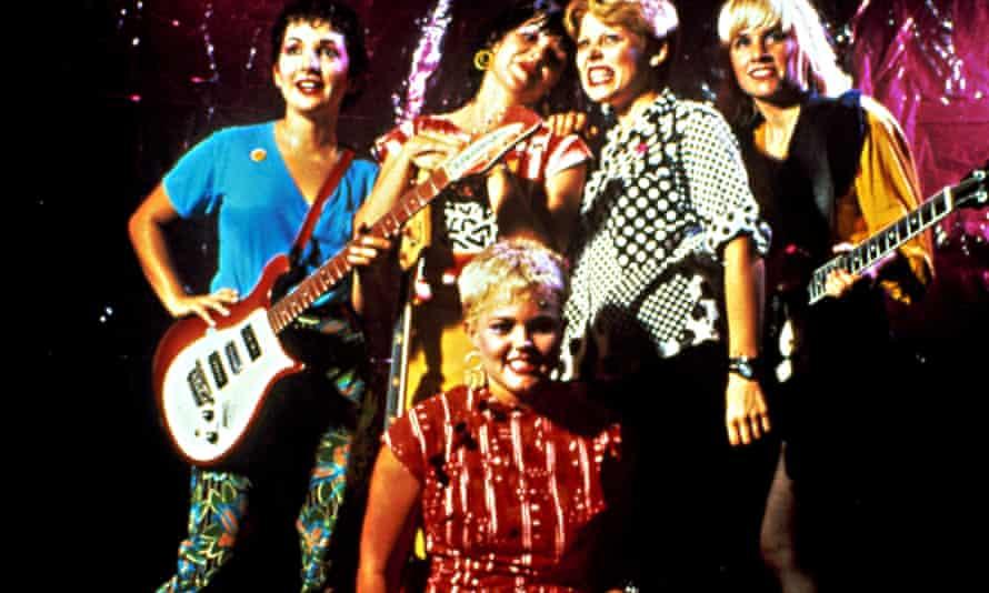 The Go-Go's, left to right: Jane Wiedlin, Kathy Valentine, Belinda Carlisle, Gina Schlock, Charlotte Caffey.
