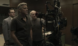 Matt Damon, George Clooney and cinematographer Robert Elswit on the set of Suburbicon.