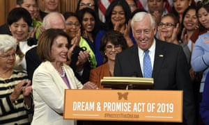 Nancy Pelosi shakes hands with the House minority whip, Steny Hoyer, during an immigration event on Capitol Hill.