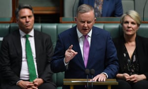 Labor leader Anthony Albanese during his budget reply speech on Thursday night.