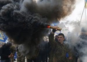Kiev, Ukraine: Members of the nationalist movement