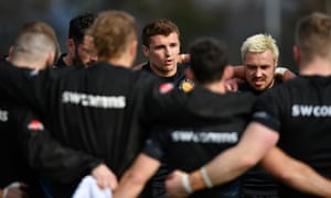 Henry Slade talks to his teammates at Exeter after returning from a Six Nations campaign in which he was a standout performer.