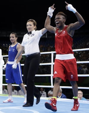 Adams celebrates winning the flyweight gold medal at the Rio Olympics in 2016.
