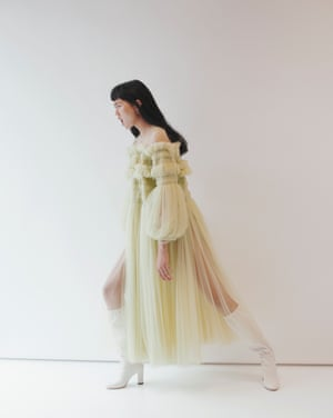 Yellow tulle dress, £2,500, Molly Goddard, from doverstreetmarket.com. Boots, £1,095, Jimmy Choo