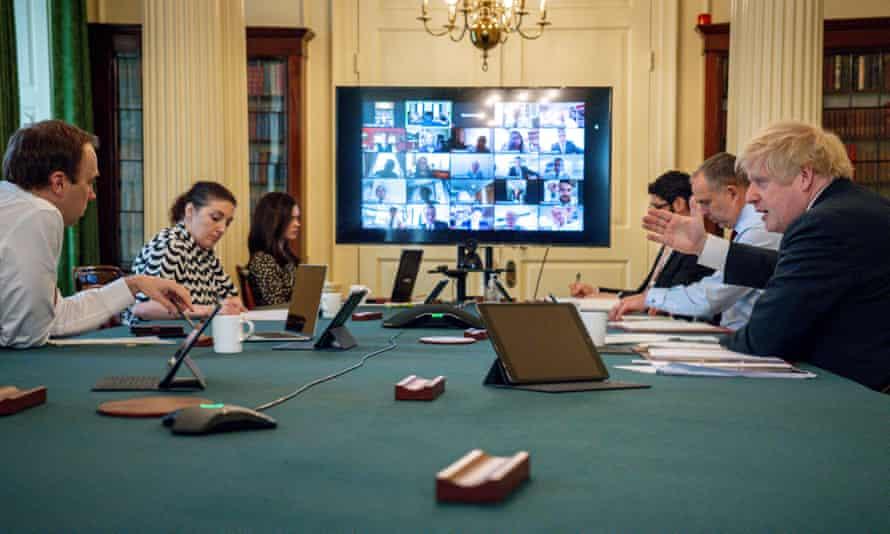 Boris Johnson holding a digital cabinet meeting at 10 Downing Street, 30 April 2020