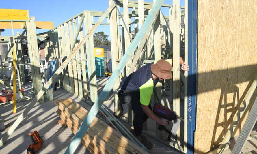 File photo of a carpenter building a new home in the western suburbs in Sydney, Australia