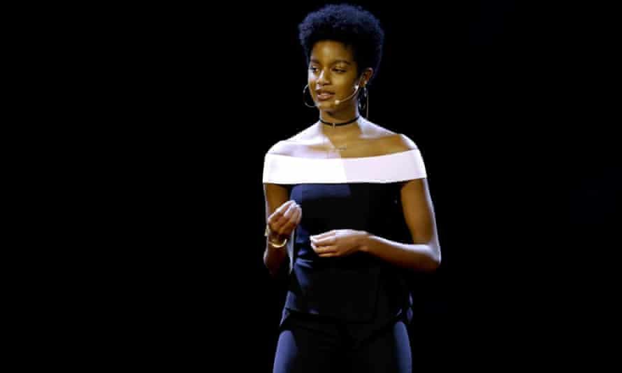 Ebonee Davis giving a TED talk.