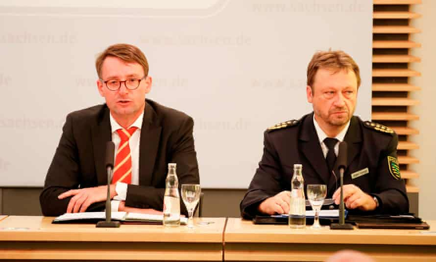 Saxony's interior minister, Roland Wöller (left), and Juergen Georgie, the head of state police, held a joint press conference on Tuesday to discuss the Chemnitz protests