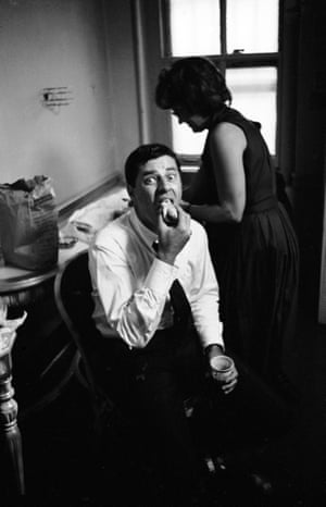 Celebrities were also partial to a Nathan's hot dog – Jerry Lewis eats one backstage at the Tilyou Theater in Coney Island in 1961