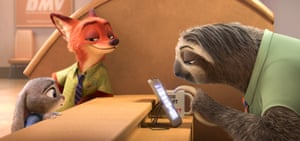 Judy Hopps with Nick Wilde, voiced by Jason Bateman, at the Department of Mammal Vehicles.