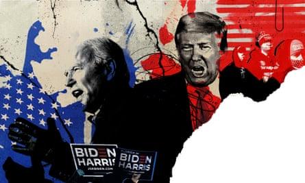 Composite illustration of Biden and Trump