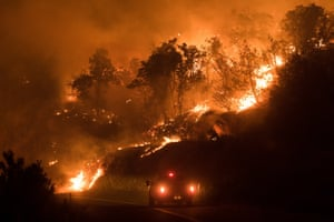 California, USA A fire spreads down a hillside