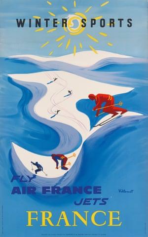 Winter Sports/Fly Air France Jets, 1954, by Bernard Villemot