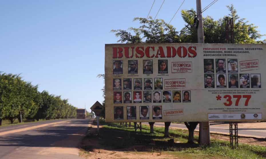 A wanted poster for EPP and ACA guerrillas in the town of Horqueta.