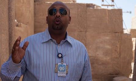 Tourist guide Aamer Ibrahim at Karnak temple.