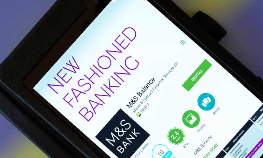 Marks & Spencer online banking app on an Android tablet PC