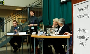 Scottish Greens candidate Zara Kitson at a hustings meeting at Rosshall Academy in Glasgow