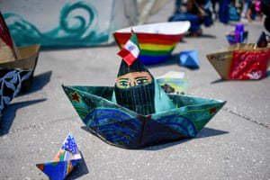 Mexico City, Mexico. Paper boats are laid in Zócalo square as a Zapatista Army of National Liberation (EZLN) delegation sets sail for for Europe to meet anti-capitalist groups in 30 different countries