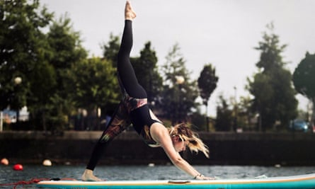 SUP yoga in Salford Quays.