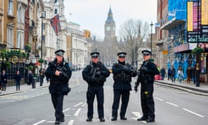 Armed Met officers after the Westminster attack