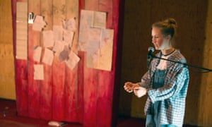 The bloodied boards of Sophie Thomas's set for My Name Is Rachel Corrie.