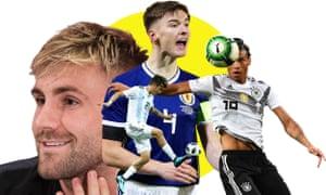 Footballers Luke Shaw, Paulo Dybala, Kieran Tierney, Leroy Sane.