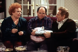From 1993 to 1998, Stiller played the fiery Frank Costanza in the sitcom Seinfeld. Here he is with Estelle Harris and Jason Alexander, who played Frank's son, George.