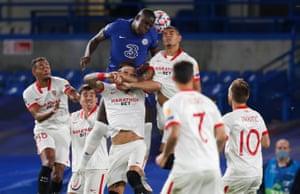 Zouma heads at goal.