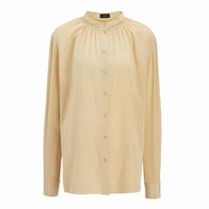 crew neck cream silk blouse, Joseph