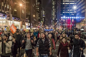 A huge crowd gathers in the streets of New York