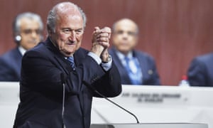 Sepp Blatter after being re-elected as Fifa president in Zurich