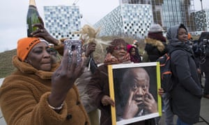 Supporters of Laurent Gbagbo rally outside the international criminal court