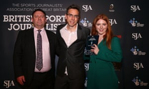 Sean Ingle and Martha Kelner are presented with the sports scoop of the year award by Paul McCarthy (left), former sports editor of News of the World.
