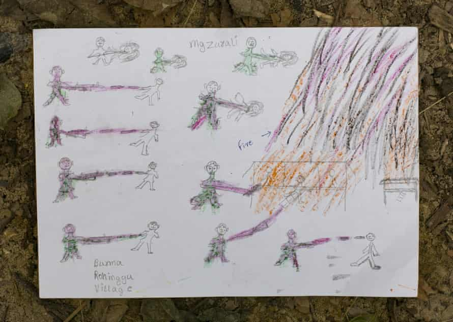 Manzur Ali's drawing is seen at a Codec and Unicef child-friendly space. The picture depicts a violent scene he witnessed while fleeing his village