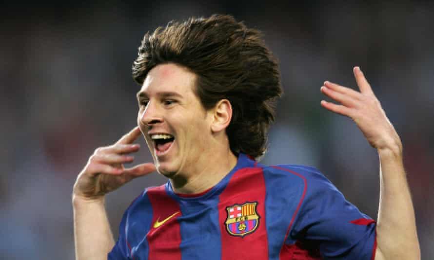 Lionel Messi celebrates scoring for Barcelona in April 2005.