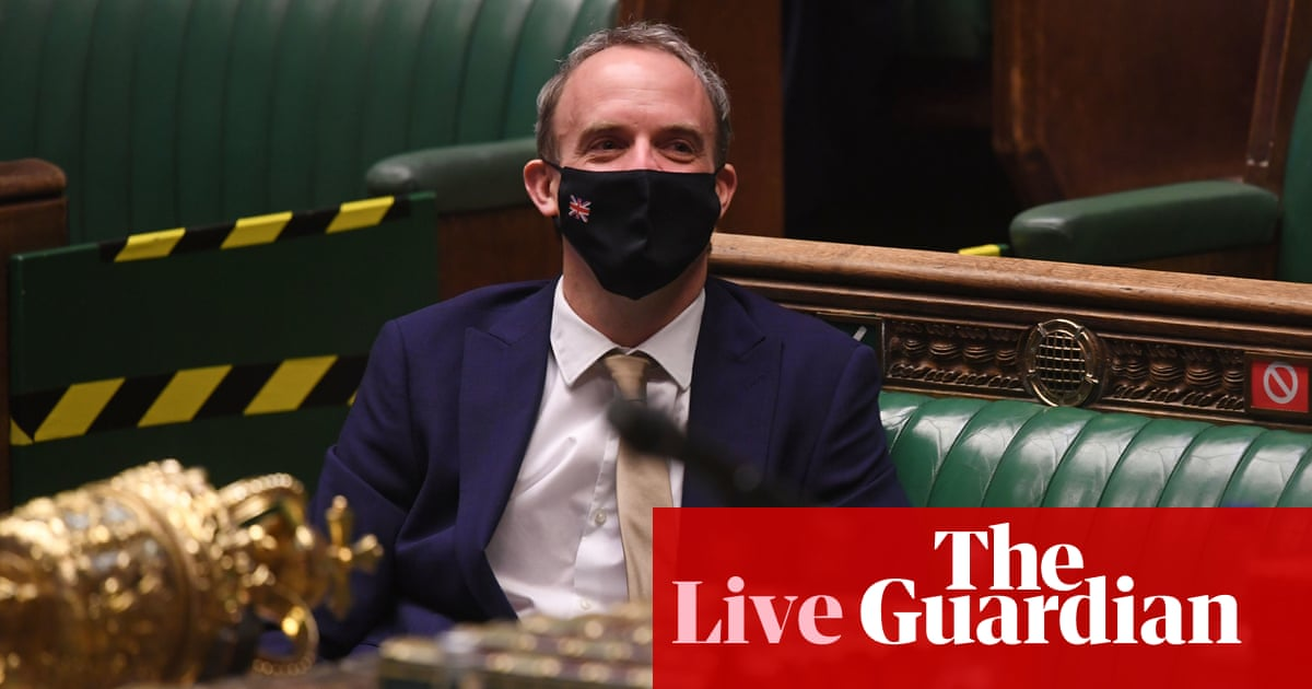 UK politics live: Raab suggests EU acting like authoritarian regime after it threatens vaccine exports to UK