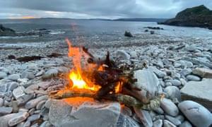 Anti-midge beach fire at Loch Ailort Wild Camp.