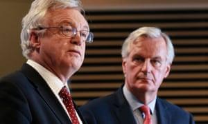 David Davis (left) and Michel Barnier.