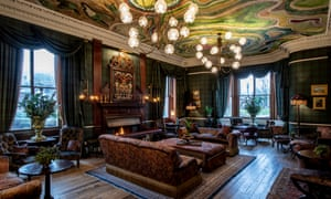 The drawing room at the Fife Arms, with frescoed ceiling by Chinese artist Zhang Enli, inspired by Scottish agates.