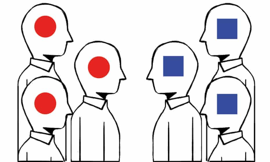 Illustration of figures facing each other, those on the left have a red circle, on the right a blue square