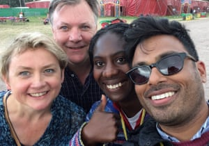 Ed Balls with Yvette Cooper and a couple of festival goers